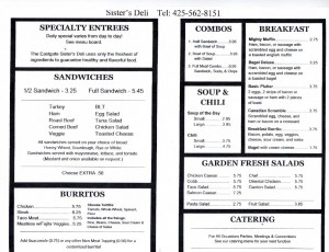 SISTER'S DELI EVERYDAY MENU