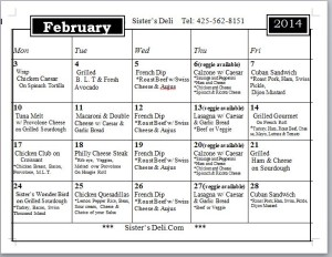 Februart Daily Menu 2014